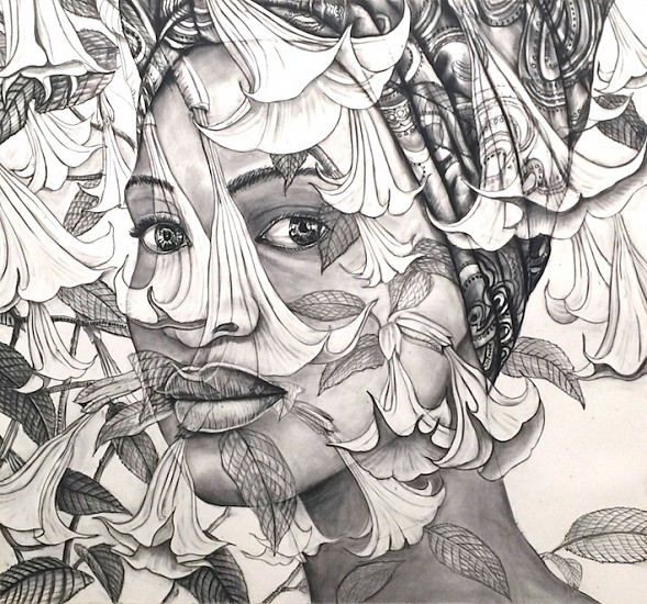 GARY STEPHENS, RACHAEL WITH DOEK AND MOONFLOWERS 2018, CHARCOAL ON PAPER